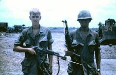 Soldiers with AK-47s captured the night before, 1968 - Vietnam War