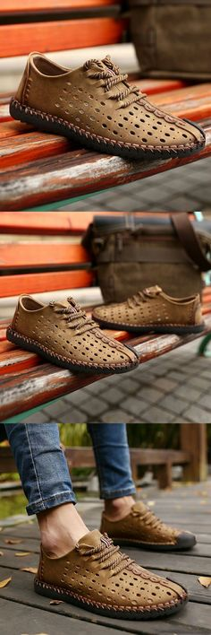 Men's Leather Summer Breathable Shoes Walking Lace Up Loafers Casual Hiking Shoes Mens Fashion 2018, Mens Boots Fashion, Latest Mens Fashion, Fashion 2016, Hiking Shoes, Men's Leather, Stylish Men, Look Fashion, Urban Fashion