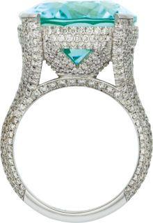 Paraiba Tourmaline, Diamond, White Gold Ring The ring features an oval-shaped Paraiba tourmaline measuring - Available at 2013 December 9 Fine Jewelry. I Love Jewelry, Gold Jewelry, Jewelry Accessories, Fine Jewelry, Jewelry Design, Unique Jewelry, Jewelry Rings, Jewelry Art, Ring Set