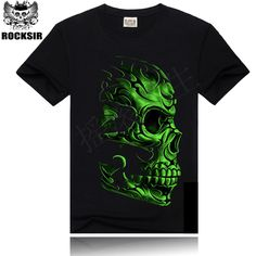 4cf31f511 Good quality men's wear noctilucent Wolf skull printing short sleeve black  cotton Luminescence fluorescent night man t shirt. Men's Clothing