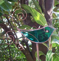 Green Stained Glass Bird with Copper Wire Feathers  by Orlantha, $18.00