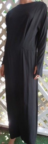 (see the sleeves) Vintage 1940's Black Widow's Long Crepe Mourning Dress L   eBay