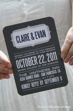 Wedding invitation ideas Stylish Patina Vintage Rental www.stylishpatina.com  Modern pinstripe wedding invitation in grey and white