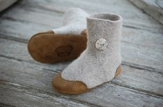 wooly baby slippers from upcycled sweater