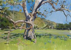 Plein air painting of sycamore and lupine in Toro State Park, Salinas.