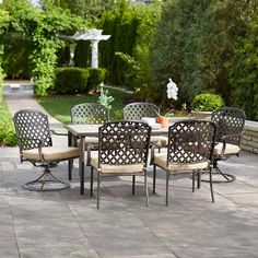 Hampton Bay Marysville 7-Piece Patio Dining Set with Beige Cushions-5022-7PC - The Home Depot