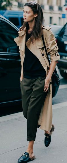 TRENCH COAT, STREET STYLE, GUCCI LOAFER