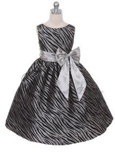 SIZE 4T IN STOCK - KD - Little Girls Silver & Black Animal Print Flower Girl Dress