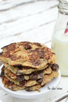 Chocolate Chip Pancakes with Oatmeal and Bananas :: this could convince me to have breakfast for dinner!