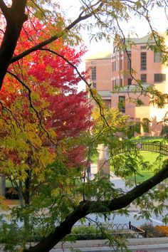An autumn view of Marquette University's Alumni Memorial Union.