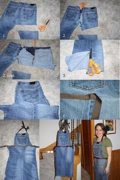 Recycler un vieux jean en tablier.This is an easy sewing project and a great way to transform an old pair of blue jeans into something new and useful. My son loves to reuse.Upcycle old jeans into apron-- can get 2 aprons from a single pair of jeans! Sewing Aprons, Sewing Clothes, Diy Clothes, Denim Aprons, Jean Crafts, Denim Crafts, Upcycled Crafts, Jean Diy, Jean Apron
