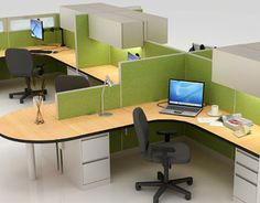 deNUO by Ecowork    This attractive workstation was put together from refurbished furniture for Ecowork's deNUO line. Durable Steelcase frames were covered with fabric from recycled pop bottles. The line is formaldehyde and PVC free.