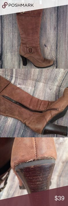 "Tall Brown Leather Boots 11M heeled Heeled leather zip up and buckle boots.  For wider calves:  16"" top zipped circumference.  Women's 11M Shoes Heeled Boots"