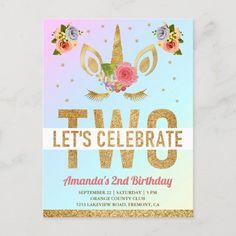Magical Gold Glitter Unicorn 2nd Birthday Party Invitation Postcard Glitter Invitations, Zazzle Invitations, Unicorn Birthday Parties, Birthday Party Themes, 2nd Birthday Invitations, Lets Celebrate, Postcard Size, Gold Glitter, Thank You Cards