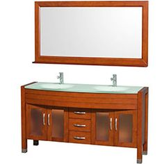 """60"""" Daytona Double Bathroom Vanity with Mirror by Wyndham Collection - Cherry #WyndhamCollection #HomeRemodel #BathroomRemodel #BlondyBathHome #BathroomVanity"""