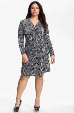 a4afe5ef4b MICHAEL Michael Kors Zebra Print Faux Wrap Dress (Plus) available at   Nordstrom LS