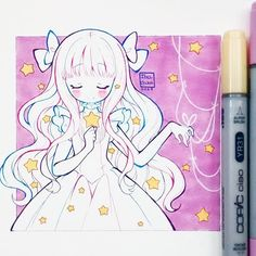 Acepto #copicciao #copicmultiliner #copicmaker #traditional #kawaii #cute #beauty #stars #love #amor