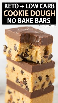Healthy No Bake Chocolate Chip Cooke Dough Bars made with NO eggs NO flour and completely edible and ready to eat raw Keto Vegan Paleo and Sugar Free ketorecipes veganrecipes ketodessert cookiedough pegan Cookie Dough Vegan, No Bake Cookie Dough, Chocolate Chip Cookie Dough, Chocolate Brownies, Cookie Dough Brownies, Chocolate Chips, Sugar Free Chocolate Syrup, Cookie Dough Cheesecake, Sugar Free Syrup