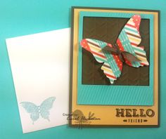 Stampin' Up! Chickstamper--Hello Friend!! This card is pretty fun because it has uses so much product from the 2014 Spring Occasions Catalog!! We made this card at a Chickstamper get together of our Chickadee group...a wonderful group of SU women!! Click on picture for all supplies :)