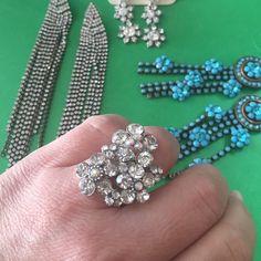 Gorgeous adjustable rhinestone ring  Jewelry Rings