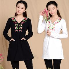 National embroidered medium-long trend slim long-sleeve T-shirt female chinese style embroidery one-piece dress mm plus size