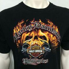 Harley Davidson Flaming Skull Large T-Shirt Orlando Florida Flames Fire Skeleton