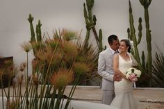Wedding couple. Mexican backdrop.Casa Natalie. Ensenada, Mexico