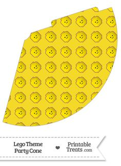 Yellow Lego Theme Party Cone--- https://www.pinterest.com/printabletreats/lego-theme-printables/