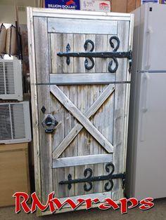 Old Barn Door Refrigerator wrap — Rm Wraps Refrigerator Makeover, Paint Refrigerator, Refrigerator Wraps, Old Barn Doors, Old Screen Doors, Old Kitchen, Kitchen Decor, Primitive Kitchen, Kitchen Booths