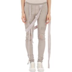 Rick Owens Knee-Guard Leather Leggings Sale up to 70% off at Barneyswarehouse.com