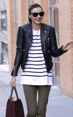 Miranda Kerr; balenciaga spring 2011 leather jacket, bag from celine