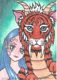ACEO orginal Manga anime blue hair girl with tiger dragon by Jenny Luan