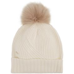 Woolrich Ivory fur pompom beanie ($110) ❤ liked on Polyvore featuring accessories, hats, pompom hat, woolrich, pom pom beanie hat, fur hat and beanie cap