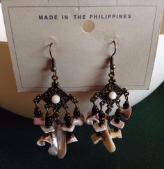 Antique bronze Chandelier style natural shells dangle hook earrings #Unbranded #Chandelier
