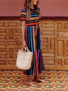6af3ff459328 Fashion Round Collar Colorful Striped Maxi Dress