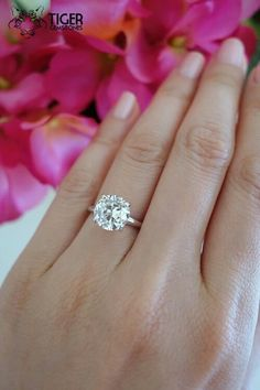 Stunning 3 Carat White Gold 4 Prong Solitaire Engagement Ring Man Made Diamond Simulant Promise Ring Wedding Ring Bridal Ring Engagement Solitaire, Antique Engagement Rings, Bridal Rings, Wedding Rings, Man Made Diamonds, Dream Ring, Diamond Wedding Bands, Bridal Shower, 3 Carat
