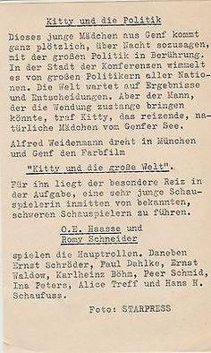 """1956 - Romy Schneider & Karlheinz Bohm & O.E. Hasse - tournage de """"Kitty"""" - presse verso"""