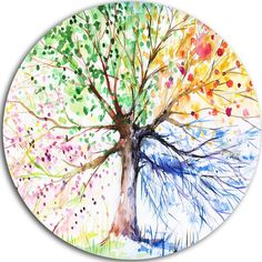 Design Art Bring contemporary abstraction to your home with this circle metal wall art. This 'Four Seasons Tree' Painting Print on Metal makes it the focal point of any room or office. Four Seasons Painting, Four Seasons Art, Circle Painting, Circle Metal Wall Art, Metal Art, Tree Artwork, Art Deco Pattern, Floral Throw Pillows, Painting Prints