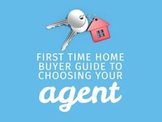 A first-time buyers template. A simple light blue background with an illustration of house keys and white text displaying 'First Time home buyer guide to choosing your agent'.