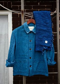 Shirt and scarf in beautiful shades of blue and indigo.