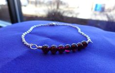 Round Garnet Bead Bracelet in Sterling Silver 7 by KeturahC #simple #chic