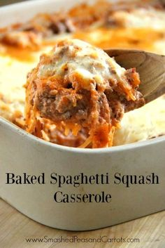 "Easy recipe for making a Baked Spaghetti Squash Casserole similar to a baked spaghetti casserole but gluten free and better for you! THM ""S"" Baked Spaghetti Casserole, Baked Squash, Spaghetti Squash Recipes, Spaghetti Squash Lasagna, Spagetti Squash Bake, Whole 30 Spaghetti Squash, Beef Recipes, Low Carb Recipes, Vegetable Recipes"
