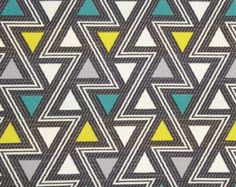 Aqua Gray Geometric Fabric - Woven Upholstery Yardage - Triangle Design - Headboard Fabric - Aqua Yellow Grey - Graphic Fabric for Furniture