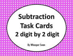 Subtraction Task Cards (2 digit by 2 digit) https://www.teacherspayteachers.com/Product/Subtraction-Task-Cards-2-digit-by-2-digit-2029676 #math #subtraction #TaskCards #bundle #tpt #teacherspayteachers #mathematics