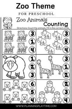 Count & Identify the Number of Zoo animals. Zoo Activities Preschool, Animal Activities For Kids, Preschool Lessons, Preschool Learning, Learning Activities, Montessori Preschool, Preschool Education, Preschool Crafts, Animal Worksheets