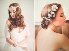 Left: Zoraya, Right: Valentina –Jannie Baltzer Couture Headpieces 2015 Collection. www.theweddingnotebook.com