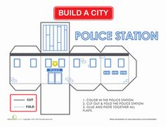 Here's a project you can share with your child, building a city together! Every city needs a police station, and she can color, cut and fold this herself.