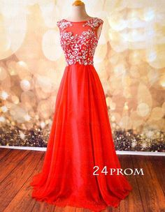 Sweetheart Red Chiffon Backless Long Prom Dresses, Formal Dresses – 24prom