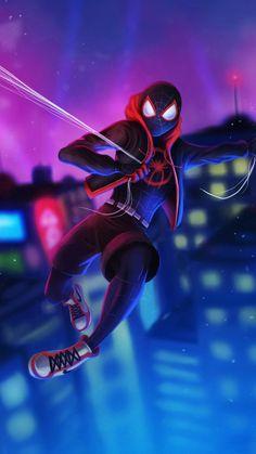 Miles Morales - Ultimate Spider-Man, Into the Spider-Verse Black Spiderman, Amazing Spiderman, Noir Spiderman, Spiderman Kunst, Spiderman Spider, Spiderman Gratis, Films Marvel, Marvel Art, Marvel Characters