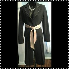 "White House Black Market Suit Beautiful blazer and cropped pants. White stitching around the coller of blazer and pants. Waist measures 30"" Inseam measures 16"". Satin cream colored sash ties around the waist. Cuff on the pants. Great suit to wear with boots or heals. White House Black Market Jackets & Coats Blazers"